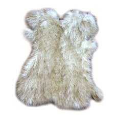 fur accents brown tip alaskan fox faux fur throw rug 5u0027x6 - Faux Fur Rugs