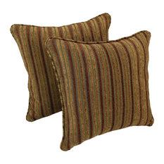 """18"""" Square Jacquard Chenille Throw PIllows, Set of 2, Autumn Stripes"""