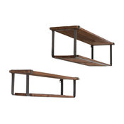 2-Piece Recycled Wood and Metal Shelves Set
