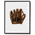 Timothy Hogan Studio - Vintage Abercrombie and Fitch Glove, Photograph, Black Frame, 27''x35'' - Vintage Abercrombie and Fitch Glove, Fine Art Print by Timothy Hogan. Dramatic and incredibly detailed, this photographic fine art print is a conversation piece for any baseball (or A&F) fan. The rich, warm leather texture in the glove is timeless and fits perfectly in all decors from traditional to modern. Order it large for most impact.