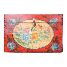 Chinese Vintage Style Red Floral Theme Trunk Box Chest Hcs4934