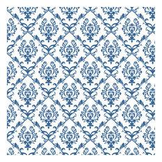 Chandelier Damask Cadet Blue Shelf Paper Drawer Liner, 120x12, Laminated Vinyl