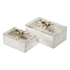 Tallulah Boxes, White, Clear, Brass