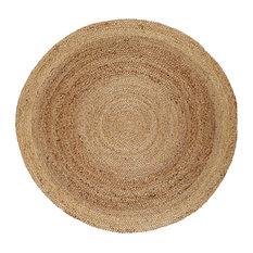 Kerala Natural Jute Rug, Natural and Brown, 8' Round