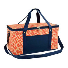 Large Folding Collapsible Cooler in Orange and Navy