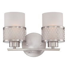 Fusion 2 Light - Vanity Fixture With Frosted Glass