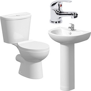 Modern WC Toilet and Basin Sink Set with Single Mixer Tap in Chrome Finish