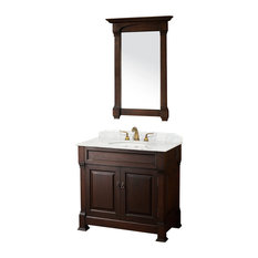 "Single Vanity, Dark Cherry, 36"", Top: White Carrera Marble,"