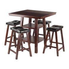 Winsome Orlando 5 Piece Square Counter Height Dining Set in Walnut