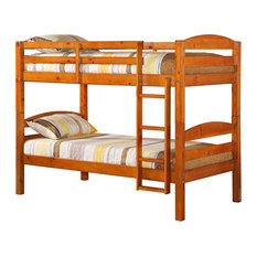 Twin Over Twin Solid Wood Bunk Bed, Honey