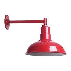 "Modern Farmhouse Barn Light, The Westchester, Red, 11"" Straight Arm"