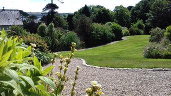 Woodland walk, paths and bridge and terracing