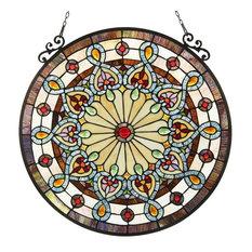 "Helena Tiffany-Glass Victorian Window Panel 23.5"""