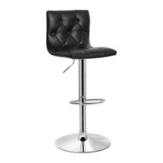 MOD - Jefferson Faux Leather Adjustable Bar Stool, Black - Bar Stools and Counter Stools