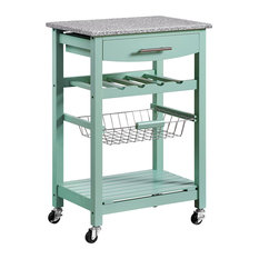 Kitchen Island With Casters, Elegant Granite Top and Front Drawer, Green