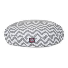 Chevron Round Pet Bed, Gray, Medium