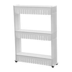 Modern Storage Trolley Cart, White PP Plastic With 3 Open Shelves and 4-Wheel