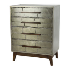 Industrial Metal 4 Drawer Dresser With Wood Handles And Metal Studs