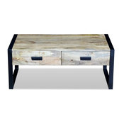 Living Room Coffee Table with Drawers - Mango Wood