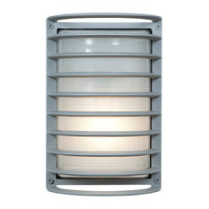 "Bermuda Outdoor Bulkhead Wall-Light, 11"", Ribbed Frosted Glass Shade, Satin"