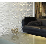 "WallArt - 3D Wall Panels, Waves, Sample - Textured Wall Coverings that will transform your interior walls with depth and create an amazing looking feature wall. The wall panels are made of natural plant fiber and are flexible, lightweight, paintable and easy to install. All our wall panels are sold in the natural off white color and therefore are paintable. Size is 19.68""x19.68"", 12 panels / box. Give your focal wall the Wow factor with our 3D wall panels."