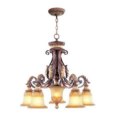 5-Light Verona Bronze With Aged Gold Leaf Accents Chandelier