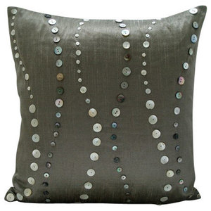 Mother Of Pearls Gray Art Silk 65x65 Euro Pillow, Climbing To the Sky