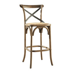 Barrow Steam Bent Bar Stool With Padded Woven Rattan Seat 30-inch Bar Height