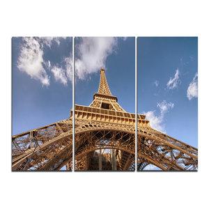 """Beautiful View Paris Eiffel Tower Under Calm Sky"" Wall Art, 3 Panels, 36""x28"""