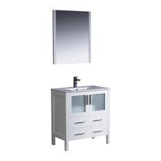 Fresca Torino 30-inch White Modern Bathroom Vanity Integrated Sink
