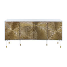 Bellissimo White Lacquer Sideboard/Buffet, Acrylic Legs, Gold Tips & Gold Finish