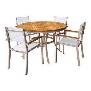Paphos 5-Piece Dining Set, Sling: Natural, Natural Tekwood