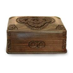 Novica Treasured Roses Walnut Wood Jewelry Box