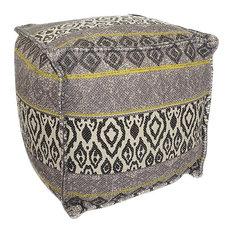 Country Club Ikat Printed Foot Cushion, Grey