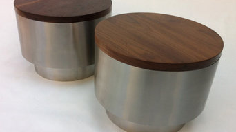 Pair of Contemporary Solid Walnut and Stainless Steel Bedside Cocktail or Coffee
