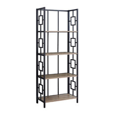 62-inchH Home Office Etagere Bookcase With 4 Tier Open Shelves - Dark TaupeBlack