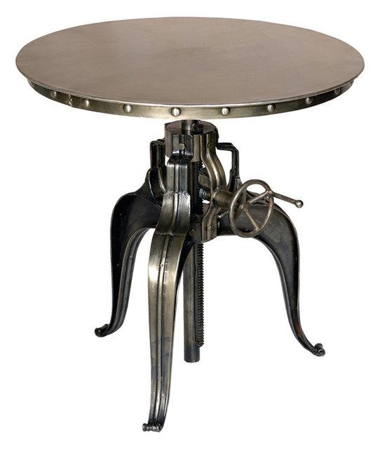 Round Crank Top Metal Bistro Table Industrial Indoor