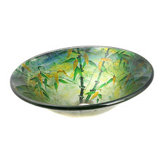 Tempered Glass Vessel Sink w Mounting Ring