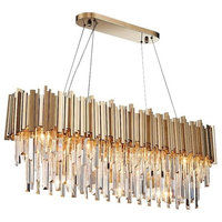 """Gio Gold Plated Crystal Dining Room Kitchen Island Chandelier, Length 40"""""""