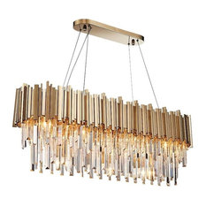 """Gold Plated Crystal Dining Room Kitchen Island Chandelier, Length 40"""""""