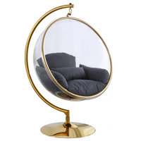 Luna Metal Acrylic Swing Bubble Accent Chair With Stand, Gray, Gold Base