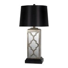 Privilege International   Quatrefoil Mirrored Table Lamp, Gray   Table Lamps