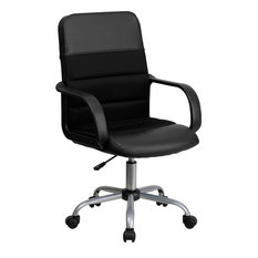 Mid-Back Leather and Mesh Swivel Task Chair