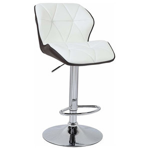 Modern 2-Tone Bar Stool Upholstered, Faux Leather With Back and Footrest, Brown