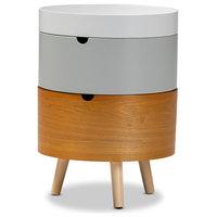 Baxton Studio Elison Mid-Century Modern Multi Color 3-Tier Wood Nightstand