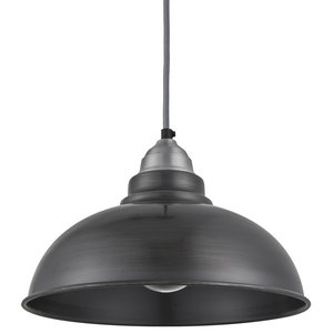 Old Factory Pendant - 12 Inch, Dark Pewter