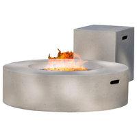 GDF Studio Hearth Circular 50K BTU Gas Fire Pit Table With Tank Holder, White