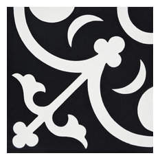 "8""x8"" Nador Handmade Cement Tile, Black/White, Set of 12"