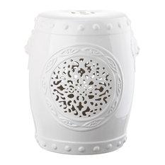 Safavieh Flower Drum Garden Stool, White