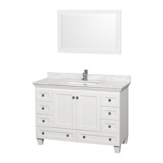"Wyndham Collection 48"" Acclaim White Single Vanity With White Porcelain Sink"
